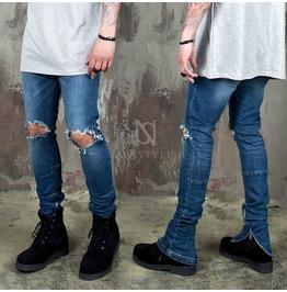 Zippered Hem Ripped Knee Slim Jeans 402