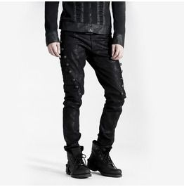 Punk Heavy Metal Black Vintage Rivet Studded Belt Design ZippDenim Pants