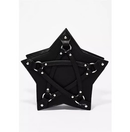 Gothic Punk Pentagram Rings Straps Black Shoulder Handbag