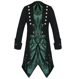 Men Vampire Tailcoat Gothic Black Jacket Steampunk Victorian Style Tailcoat