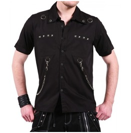 Men New Gothic Shirt Punk Rock Black Cotton Shirt With Chains D Rings Studs