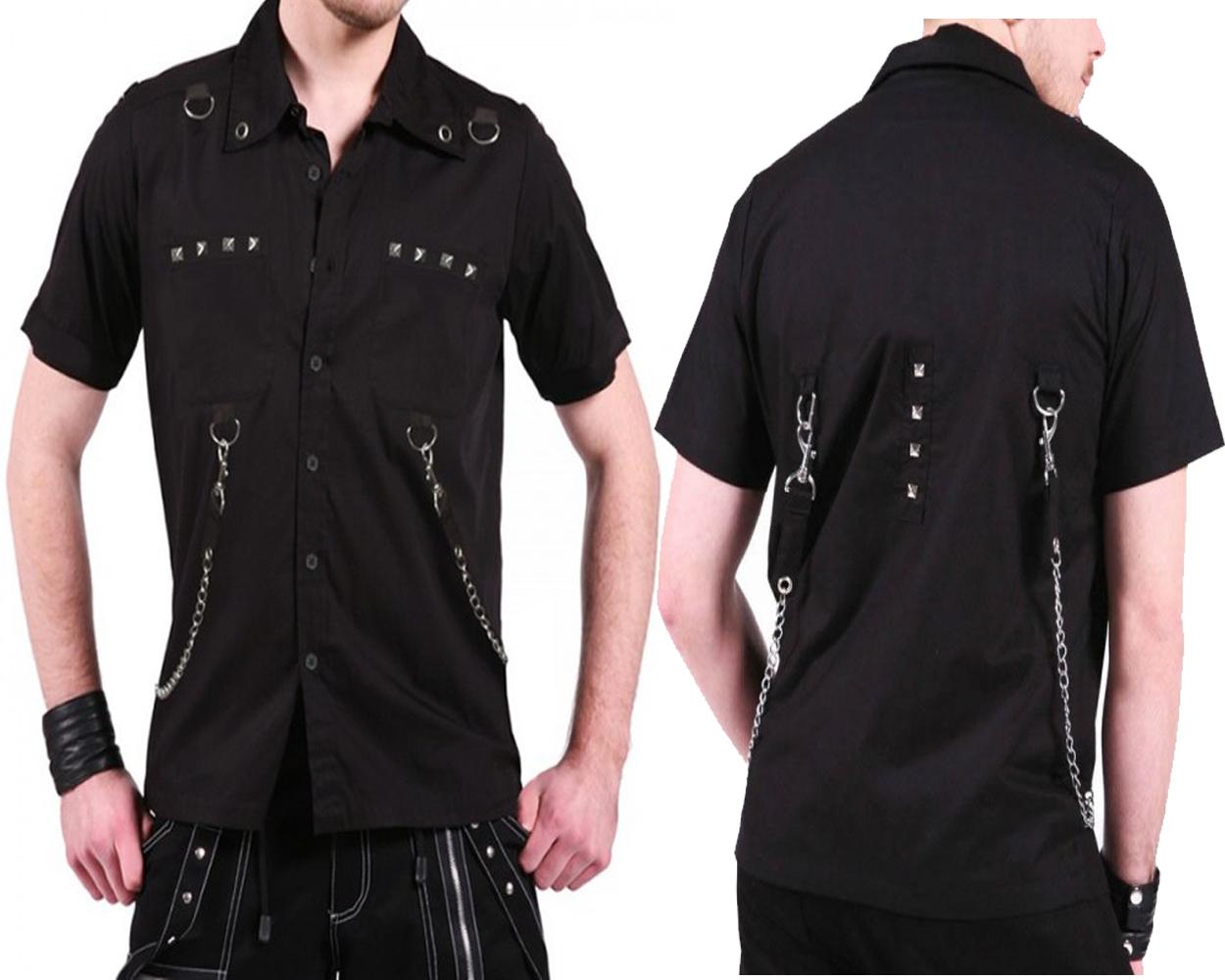 Men New Gothic Shirt Punk Rock Black Cotton Shirt With Rebelsmarket