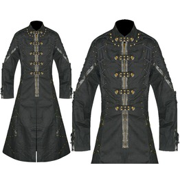 Men Hellriser Coat Gothic Long Banned Coat Black Cotton Long Coat