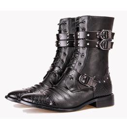 Gothic Punk Men Rivets Buckle Straps Low Heel Boots