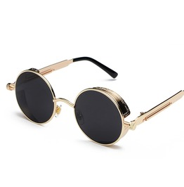 Unisex's Gothic Steampunk Round Lens Metal Sunglasses