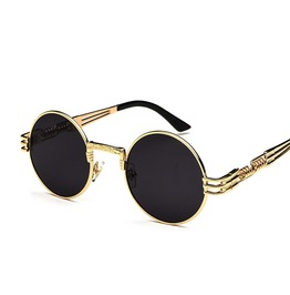 Steampunk Unisex Retro Round Sunglasses