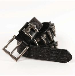 Men's Cowboy Style Bullets Studs Cowhide Belt