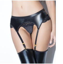 Women's High Waist Faux Leather Black Lace Garter Belt Set