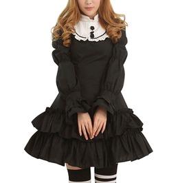 Gothic Lolita Ruffled Skirt Stand Collar Mini Dress