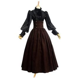 Vintage Women's Buttoned High Waist Dress