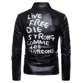 Men's Letter Printed Turn Down Collar Faux Leather Jacket