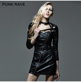 Punk Black Leather Two Way Slanted Zipper Slim Fit Dress With Strap Details For Women