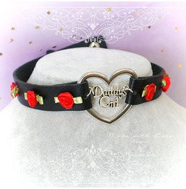 Choker Necklace , Bdsm Daddys Girl Black Faux Leather Heart Red Rose Roses,