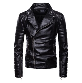 Men's Causal Slim Fitted Faux Leather Biker Zipper Jacket Coat