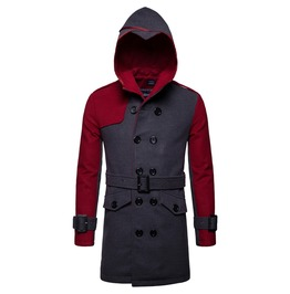 Men's Contrast Double Breasted Slim Fitted Midi Belted Hooded Coat