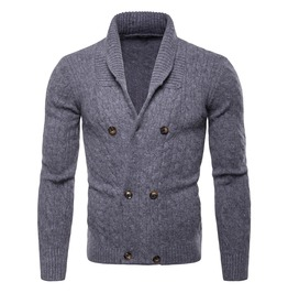 Men's Casual Stand Collar Cable Knitted Button Down Cardigan Sweater