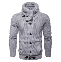 Men's Turn Down Collar Button Knitted Slim Fitted Cardigan Sweater