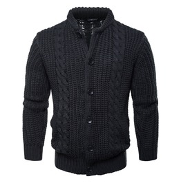 Men's Stand Collar Knitted Slim Fitted Cardigan Sweater
