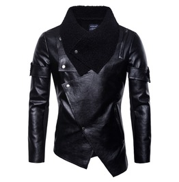 Men's Winter Turn Down Fur Collar Faux Leather Asymmetrical Jacket