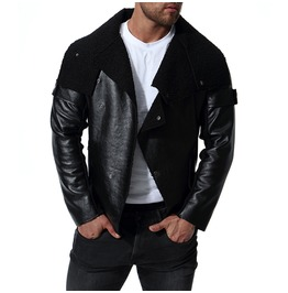 Men's Smooth Lamb Touch Faux Leather Turn Down Collar Jacket