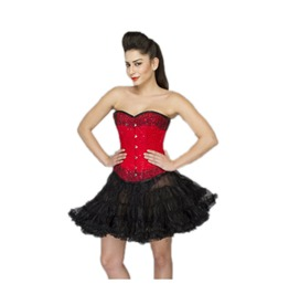 Plus Size Red Satin Sequins Overbust Top Tutu Skirt Corset Prom Dress
