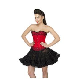 Red Satin Handmade Sequins Burlesque Top & Tutu Skirt Overbust Corset Dress