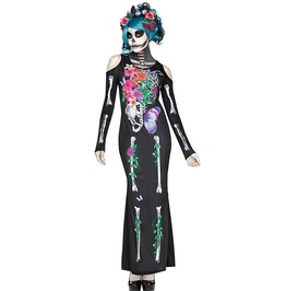 Day Of The Dead Sugar Skull Lady Black Cold Shoulder Slim Fit Cosplay Dress