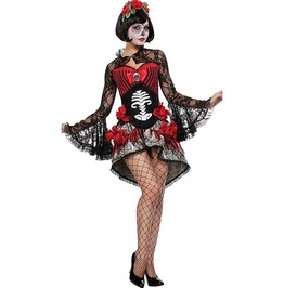 Day Of The Dead Sugar Skull Lady Lace Shirt Corset Top Mini Skirt Set