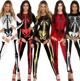Bones Skeleton Sexy Suit And Tights Halloween Costume Adult Women