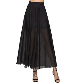 Chiffon See Through Mesh Patchwork Sexy Gothic Party Long Skirt