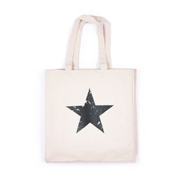 Black Star Print Tote Vintage Retro Style Cotton Canvas Graphic Printed Bag