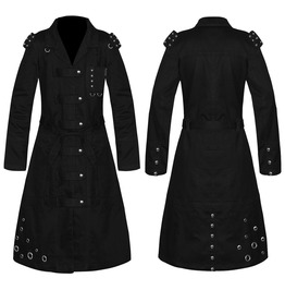 Men Long Military Coat Steampunk Army Cotton Coat Victorian Style Trench Lo