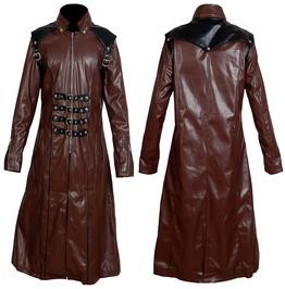 Men Long Brown Imitation Leather Coat Gothic Badboy Long Coat