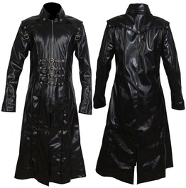 Men Long Black Imitation Leather Coat Gothic Men Steampunk Badboy Long Coat