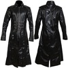 Rebelsmarket men long black imitation leather coat gothic men steampunk badboy long coat coats 4