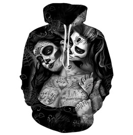 3 D Print Sugar Skull Girls Hooded Sweatshirt Pullover