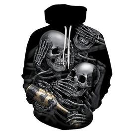 767cfad48ff 3 D Print Drinking Skeletons Skull Gun Hooded Sweatshirt Pullover