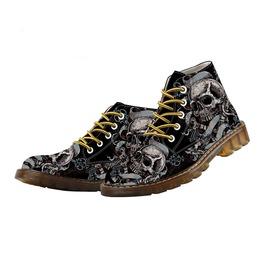 Skulls Skeleton Print Martins Ankle Boots
