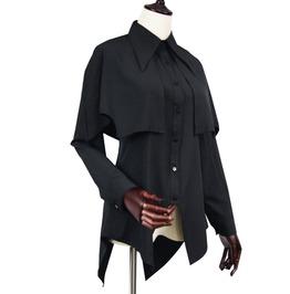 Caped Women's Turn Down Collar Top