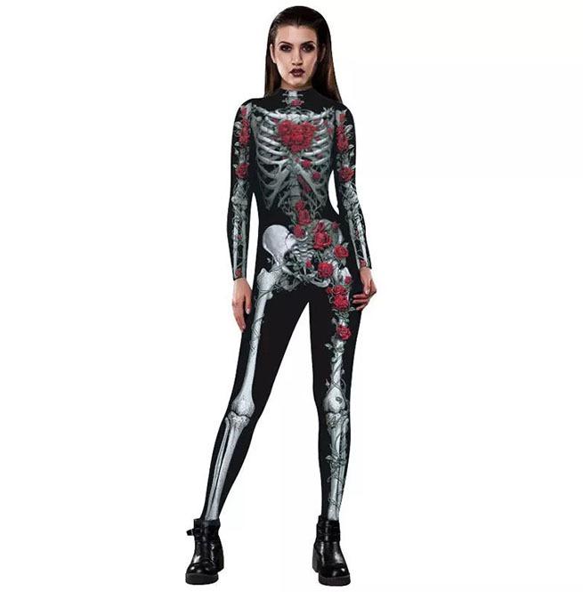 5f8674b80010 Gothic Halloween Cosplay Skeleton Jumpsuit