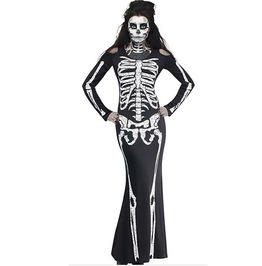 Gothic Women's Skeleton Cosplay Long Dress