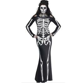 Gothic Women's Skeleton Cosplay Long Dress