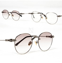 Engraved Metal Frame Accent Round Glasses 07
