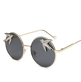 Web Celebrity Oversized Round Sunglasses Polarized Metal Frame For Lady