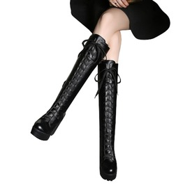 Gothic Women's Lace Up Zipper High Heels Boot