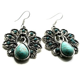 Cool! Teardrop Turquoise Gem Bird Peacock Design Earrings With Diamantes
