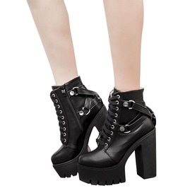 972b7126b9a7 Gothic Black Women s Soft Leather Lace Up Zipper Ankle Boots