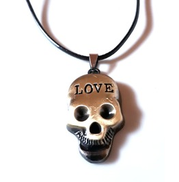 Awesome! Bronze Col Metal Skull Head With Love Wording On Black Thin Chord