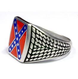 'heritage Not Hate' Steel Rebel Flag Ring.