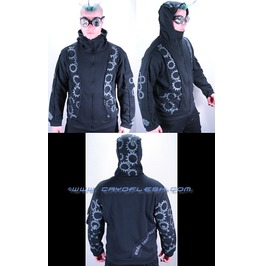 Contruct Industrial Gear Gothic Hooded Jacket Top